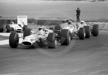 Jack Oliver, Lotus 48, leads Chris Irwin, Lola T100, and Kurt Ahrens, Brabham BT23C, into the chicane, Thruxton, Easter Monday 1968.