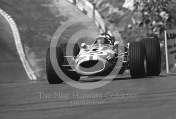 Silvio Moser, Charles Vogele Racing Team Brabham Repco BT20, at Druids Hairpin, Brands Hatch, 1968 British Grand Prix.