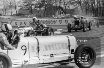 P Mann looks for gears in his ERA R9B as S Beer passes in his MG K3 Magnette, followed by C Gunn, MG Q Type Replica, VSCC Donington May 1979