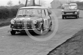 Paddy Hopkirk/Ron Crellin, works Mini Cooper S, JMO 969D, between stages in Shropshire, before retiring with broken transmission, RAC Rally, 1966