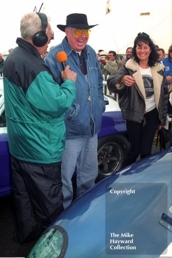 Interview time for Carroll Shelby, Goodwood Revival, 1999.