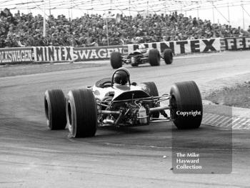 Jochen Rindt, Brabham BT23C, chases Derek Bell, Church Farm Racing Brabham BT23C, out of the chicane at the Thruxton Easter Monday F2 International, 1968.