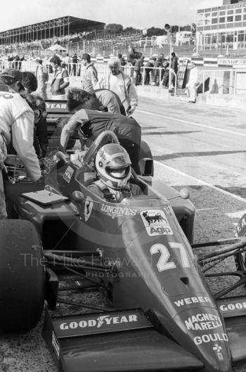 Michele Alboreto, Ferrari 156, in the pits at Brands Hatch, 1985 European Grand Prix.