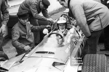 Jean-Pierre Beltoise, Matra V12 MS11, in the pits at Brands Hatch, 1968 British Grand Prix.