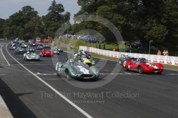 Frank Sytner, 1959 Cooper Monaco, and John Harper, 1959 Cooper Monaco, on the front of the grid for the BRDC Historic Sports Car Championship, Oulton Park Gold Cup, 2002