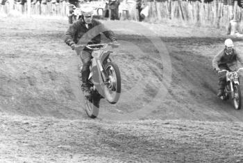 Riders tackle the jump, 1966 ACU Championship meeting, Hawkstone.