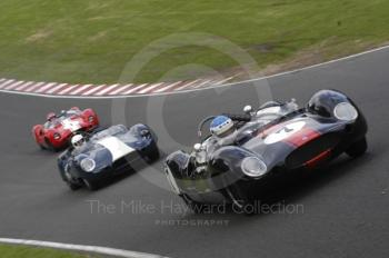 Ted Williams, 1959 Cooper T49 Monaco, leads Julian Bronson, 1959 Lister Corvette, and John Harper, 1959 Cooper Monaco, BRDC Historic Sports Car Championship Race, Oulton Park Gold Cup meeting 2004.