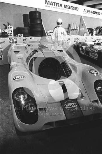Gulf Porsche 917 sports car at the International Racing Car Show, Olympia, 1971.