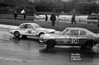 Roger Bell, BMW 2002, spins at the hairpin in front of Barrie Boult, Luton Motors Ford Capri, during the Castrol Production Saloon Car Championship Race, Mallory Park, 1972.