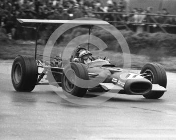 Pedro Rodriguez, BRM P126 V12, on the way to 8th place, at Copse Corner, Silverstone, International Trophy 1969.
