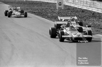 David Morgan, Edward Reeves Brabham BT35-8, leads Wilson Fittipaldi, Elcom Racing Team March 712 and Niki Lauda, STP March 722, Mallory Park, March 12 1972.