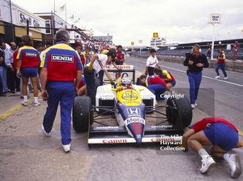 Nigel Mansell, Williams FW11B during qualifying, British Grand Prix, Silverstone, 1987