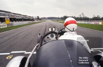 The view to Redgate for M Fountain, Riley 9, on the front row of the grid, VSCC Donington May 1979
