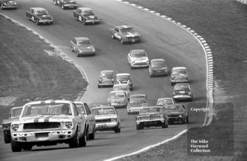 Jack Oliver, Ford Mustang, leads into Druids Hairpin, British Touring Car Championship Race, Guards International meeting, Brands Hatch 1967.