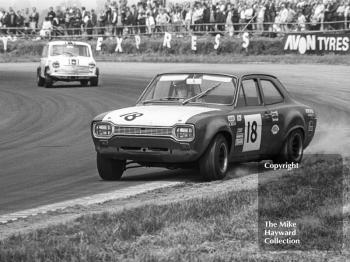 Willy Kay, Ford Escort, at Copse Corner, Silverstone Martini Trophy meeting 1970.