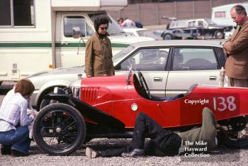 I Dutton's Morgan Aero gets last-minute attention in the paddock, VSCC Donington May 1979