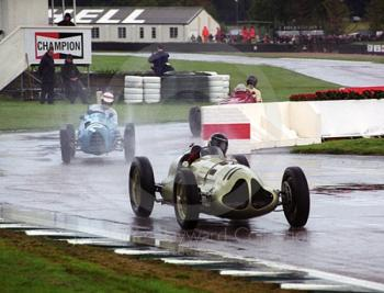 Duncan Ricketts, ERA E-type, and John Foster, Gordini T15, splash through the chicane, Goodwood Trophy, Goodwood Revival, 1999