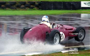 Burkhard von Schenk on opposite lock out of the chicane in his Maserati 250F, Richmond and Gordon Trophies, Goodwood Revival, 1999