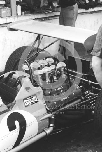 Cosworth Ford V8 engine in the car of Bruce McLaren at Brands Hatch, 1968 British Grand Prix.