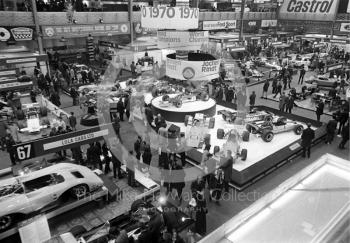 An overall view of the International Racing Car Show at Olympia in 1971, with Jocken Rindt's championship-winning Lotus 72 taking centre stage.