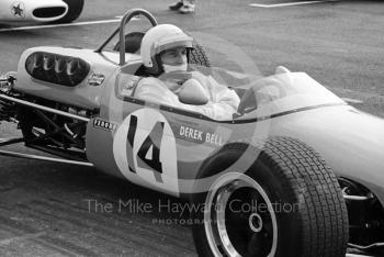 Derek Bell, Church Farm Racing Brabham BT23C, on the grid at the Thruxton Easter Monday F2 International, 1968.