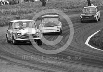 Chris Montague, Alexander Engineering Mini Cooper S, heading for 4th place in class, and timed at 110.97mph on Knickerbrook Straight, Oulton Park Gold Cup meeting, 1967. Following in his wake are Bernard Unett, Hillman Imp, and Tony Lanfranchi, also in a Hillman Imp.