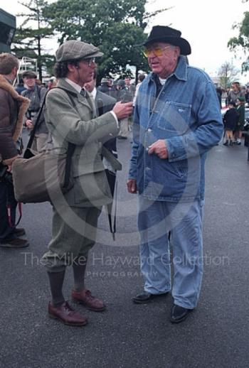 Interview time for Carroll Shelby, Goodwood Revival, 1999