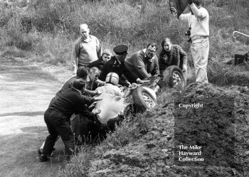 Marshals rush to the aid of John Creasey in his Lola at the Esses, Shelsley Walsh Hill Climb June 1967.