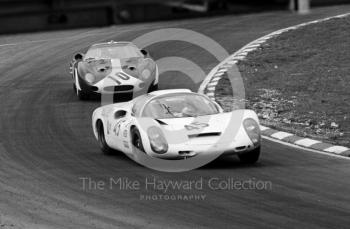 Porsche 910 of Rico Steinemann/ Dieter Spoerry winning the 2 litre prototype class, followed by Roy Pike/Paul Vestey, Ferrari 250 LM #6167,1968 BOAC 500, Brands Hatch