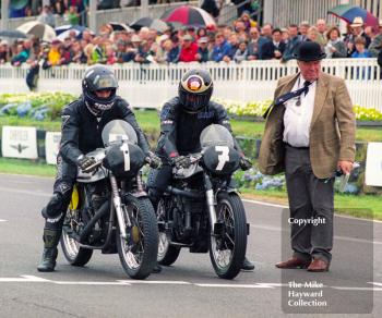 Damon Hill and Barry Sheene on Manx Nortons prepare to leave the grid for the Lennox Cup race, Goodwood Revival, 1999