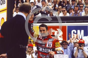 Nigel Mansell on the podium, Silverstone, 1987 British Grand Prix.