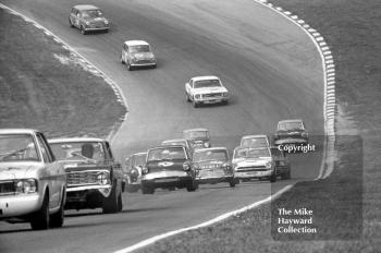 Mike Young, Superspeed Conversions Ford Anglia, in the middle of the pack, British Touring Car Championship Race, Guards International meeting, Brands Hatch 1967.