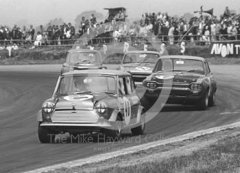 Gordon Spice, Equipe Arden Mini Cooper S, leads Zekia Redjep, Ford Escort, at Copse Corner, Silverstone Martini Trophy meeting 1970.