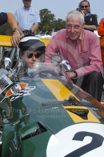 Jack Brabham and Ron Tauranac with a 1969 Brabham BT26, Oulton Park Gold Cup meeting, 2002.