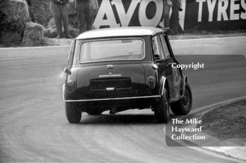 John Handley, Cooper Car Company Mini Cooper S, at Druids Hairpin, British Touring Car Championship Race, Guards International meeting, Brands Hatch 1967.