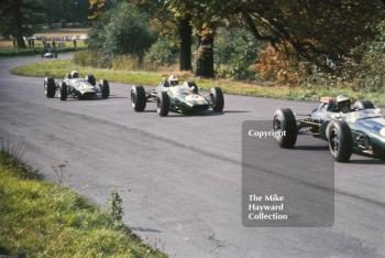 Jochen Rindt leads Denny Hulme and Alan Rees, all in Brabham BT16's at the Oulton Park Gold Cup, 1965.
