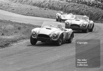 C McLaren, Shelby Cobra, followed by J M Sparrow, Shelby Cobra and John Surtees, Lola T70, at Knickerbrook, Tourist Trophy, Oulton Park, 1965.