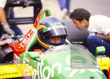 Thierry Boutsen, Benetton B187, in the pits, British Grand Prix, Silverstone, 1987