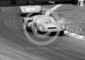 Porsche 906 of Bill Bradley/ Eric Liddell, followed by Pedro Rodriguez/Roy Pierpoint, Ferrari 250LM at South Bank Bend, 1968 BOAC 500, Brands Hatch