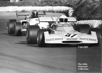Mike Hailwood, Matchbox Team Surtees TS10-01, and Jean-Pierre Jabouille, Elf Coombs Racing March 722-4, Mallory Park, Formula 2, 1972.
