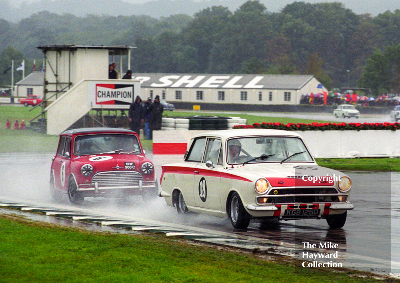 Gerry Marshall, Lotus Cortina Mk 1, and John Rhodes, Mini Cooper S, St. Mary's Trophy, Goodwood Revival, 1999