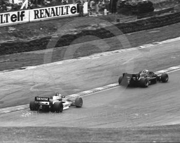 Ayrton Senna, JPS Lotus 97T/4, leads Keke Rosberg, Canon Williams Honda FW107, 1985 European Grand Prix, Brands Hatch