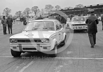 Gerry Marshall's Vauxhall Viva GT on the grid at Silverstone, ahead of W Dryden's SMT Viva, International Trophy meeting 1970.