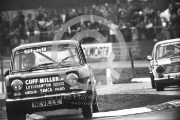 Simca Rallye bounces over Woodcote chicane, Britax Production Saloon Car Race, European F2 Championship meeting, Silverstone 1975.