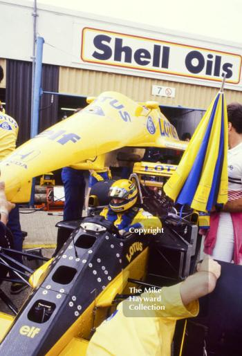 Ayrton Senna, Camel Lotus 99T, during practice for the British Grand Prix, Silverstone, 1987.