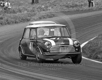 John Handley, Cooper Car Company Mini Cooper S, heading for 2nd in class, with a time on the Knickerbrook Straight of 113.49mph, Oulton Park Gold Cup meeting, 1967.