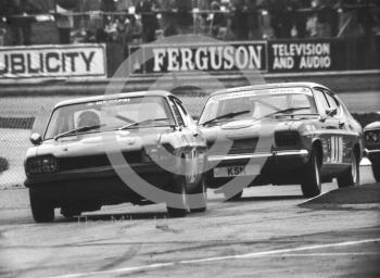 Marc Smith, Ford Capri, brings up the rear, Britax Production Saloon Car Race, European F2 Championship meeting, Silverstone 1975.
