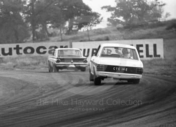 Graham Hill, Team Lotus Cortina, CTC 14E, chases a Ford Falcon out of Cascades before retiring on lap 18 having set fastest lap in Class A of 89.22mph, Oulton Park Gold Cup meeting, 1967.