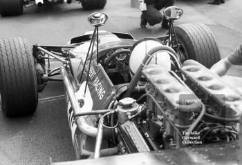 Mike Hailwood, Epstein Cuthbert Racing F5000 Lola T142, on the grid at the Oulton Park Gold Cup 1969.
