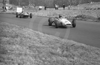 Graham Hill, John Coombs Brabham BT16 BRM, leads winner Denny Hulme, Brabham BT16, down The Avenue, Oulton Park, Spring International 1965.